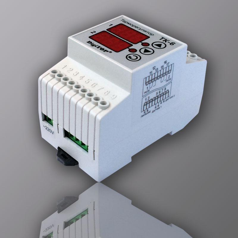 Терморегулятор ТК-6 DigiTOP двухканальный с двумя выносными датчиками  температуры: купить по цене 3990 р. в Москве и Московской области
